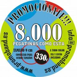 8.000 PEGATINAS REDONDAS 9 cm