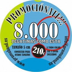8.000 PEGATINAS REDONDAS 5 cm